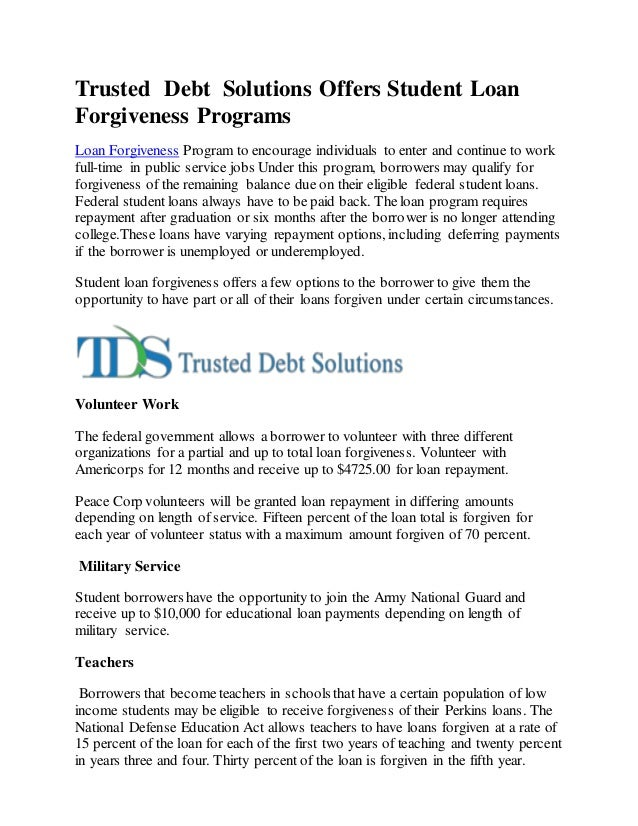 Trusted Debt Solutions Offers Student Loan Forgiveness Programs