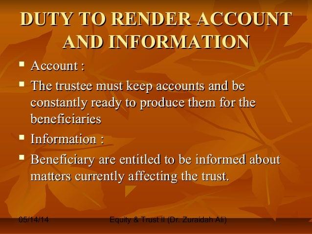Power and Duties of Trustee