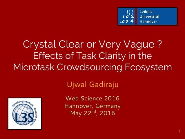 Crystal Clear or Very Vague ? Effects of Task Clarity in the Microtask Crowdsourcing Ecosystem Ujwal Gadiraju Web Science ...