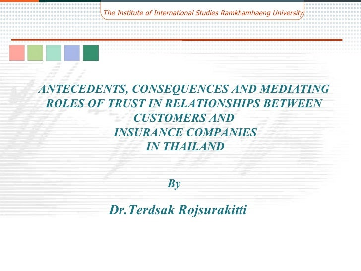 By ANTECEDENTS, CONSEQUENCES AND MEDIATING ROLES OF TRUST IN RELATIONSHIPS BETWEEN CUSTOMERS AND INSURANCE COMPANIES IN TH...