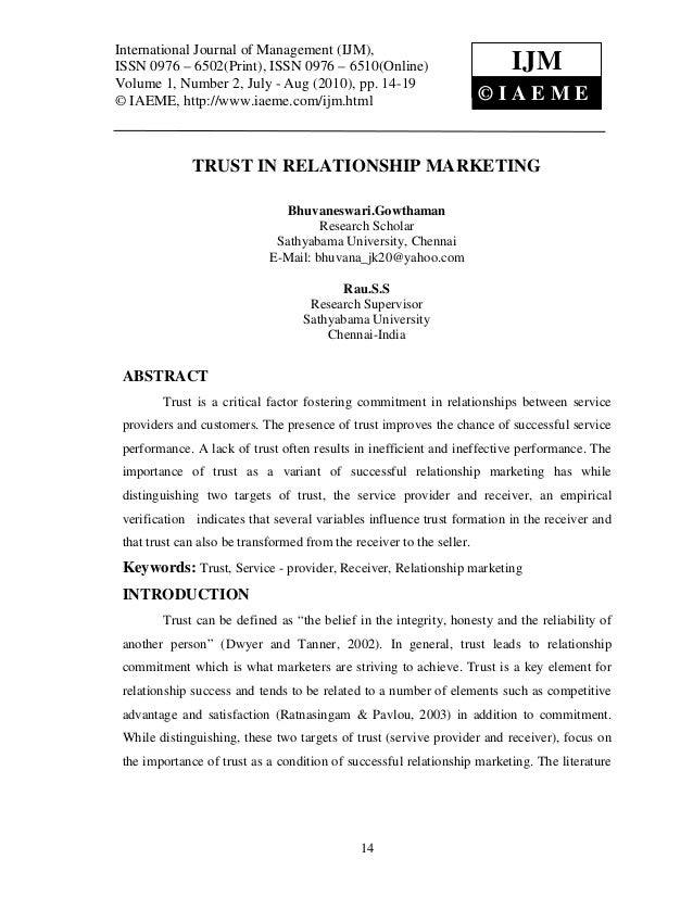 importance of trust in relationship marketing