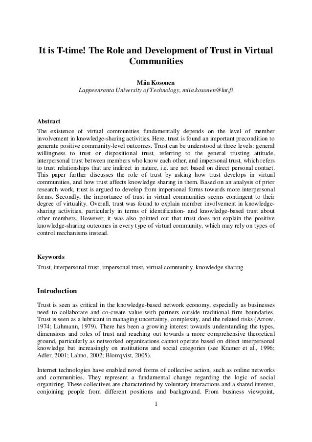 1 It is T-time! The Role and Development of Trust in Virtual Communities Miia Kosonen Lappeenranta University of Technolog...