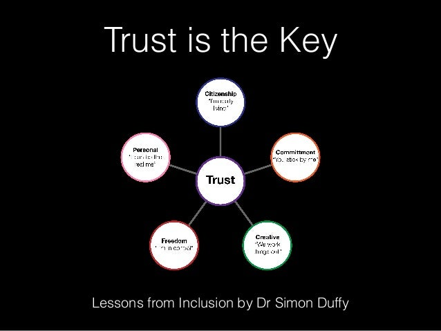 Trust is the Key Lessons from Inclusion by Dr Simon Duffy