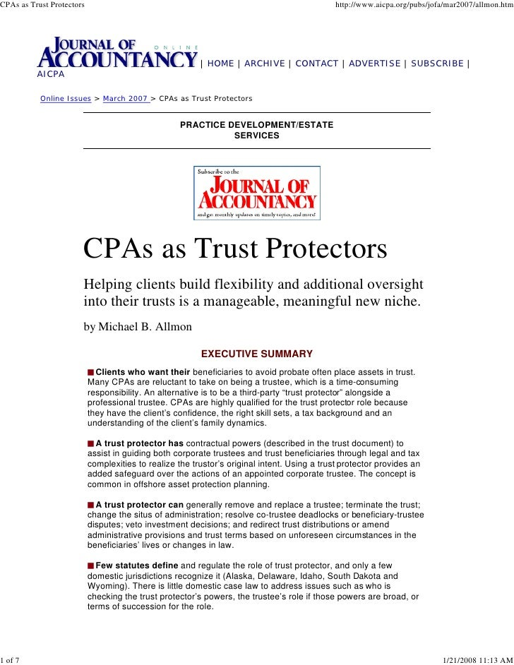 CPAs as Trust Protectors                                                                      http://www.aicpa.org/pubs/jo...