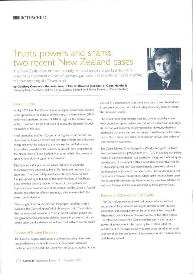 Trusts, Powers and Shams Two Recent New Zealand Cases - Rothschild - December 2008