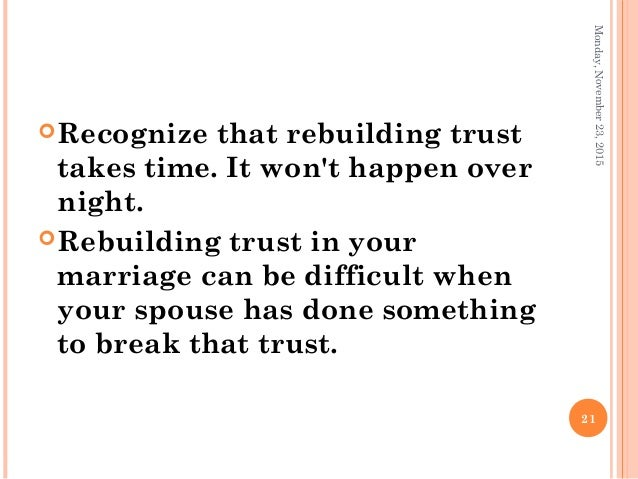 Trust in a marriage rebuilding