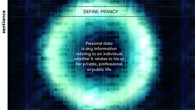 DEFINE: PRIVACY Personal data  is any information relating to an individual, whether it relates to his or  her private, pr...