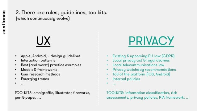 2. There are rules, guidelines, toolkits.  (which continuously evolve) UX  PRIVACY • Apple, Android, .. design guidelines...