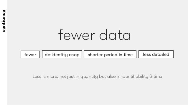 fewer data fewer  less detailed shorter period in time de-idenfity asap Less is more, not just in quantity but also in iden...