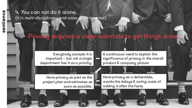 4. You can not do it alone.  (it is multi-disciplinary and cross-departmental)  Privacy requires a clear mandate to get th...