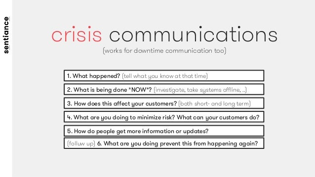 1. What happened? (tell what you know at that time) crisis communications (works for downtime communication too) 2. What i...