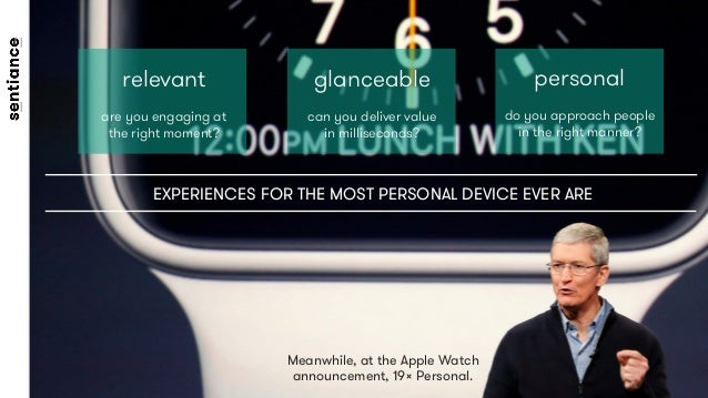 Meanwhile, at the Apple Watch announcement, 19× Personal. relevant  are you engaging at the right moment? glanceable  can ...