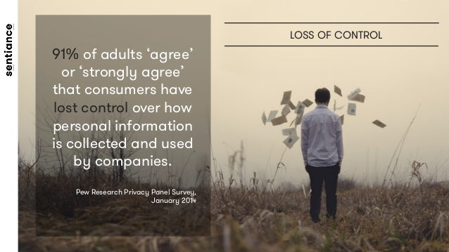 91% of adults 'agree' or 'strongly agree' that consumers have lost control over how personal information is collected and ...