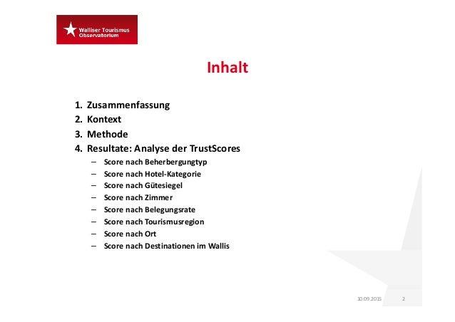 Inhalt 1. Zusammenfassung 2. Kontext 3. Methode 4. Resultate:AnalysederTrustScores – ScorenachBeherbergungtyp – Score...