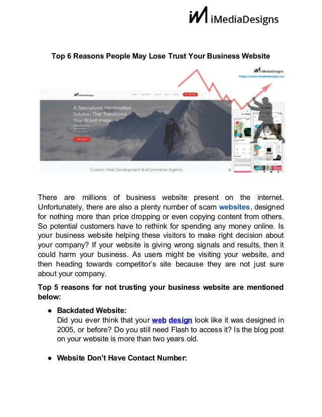 Top 6 Reasons People May Lose Trust Your Business Website There are millions of business website present...