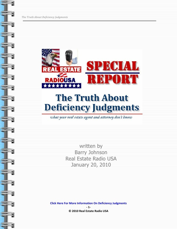The Truth About Deficiency Judgments                                                written by                            ...