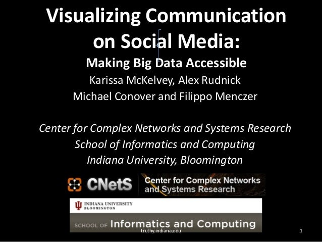 Visualizing Communication on Social Media: Making Big Data Accessible Karissa McKelvey, Alex Rudnick Michael Conover and F...