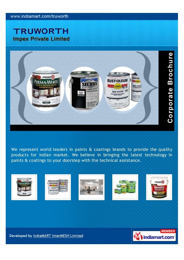 We represent world leaders in paints & coatings brands to provide the qualityproducts for indian market. We believe in bri...