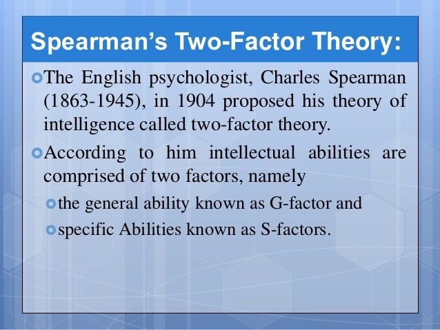 an introduction to charles spearmans theory on general intelligence Free college essay charles spearmans model of intelligence unit four individual project charles spearman's model of intelligence and general intelligence.