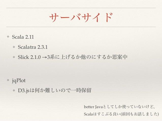 サーバサイド ❖ Scala 2.11 ❖ Scalatra 2.3.1 ❖ Slick 2.1.0 →3系に上げるか他のにするか思案中 ❖ jqPlot ❖ D3.jsは何か難しいので一時保留 better Javaとしてしか使っていないけど...