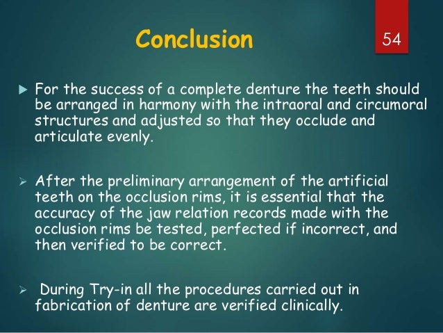 Try in of complete dentures 54 conclusion for the success of a complete denture fandeluxe Images