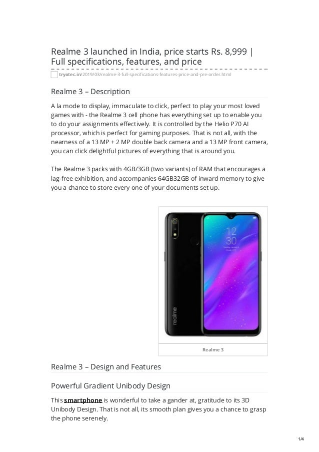 Tryotec in realme 3 launched in india price starts rs 8999