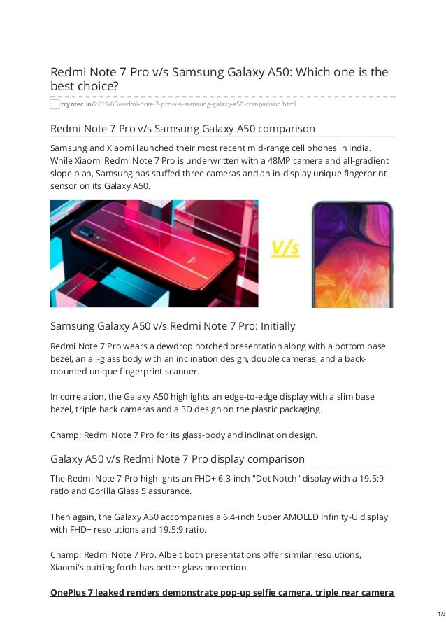 Tryotec in redmi note 7 pro vs samsung galaxy a50 which one