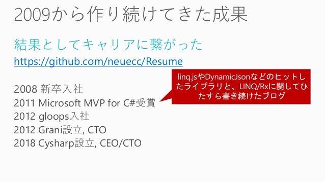 結果としてキャリアに繋がった https://github.com/neuecc/Resume 2008 新卒入社 2011 Microsoft MVP for C#受賞 2012 gloops入社 2012 Grani設立, CTO 2018...