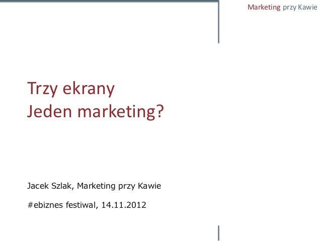 Marketing przy KawieTrzy ekranyJeden marketing?Jacek Szlak, Marketing przy Kawie#ebiznes festiwal, 14.11.2012