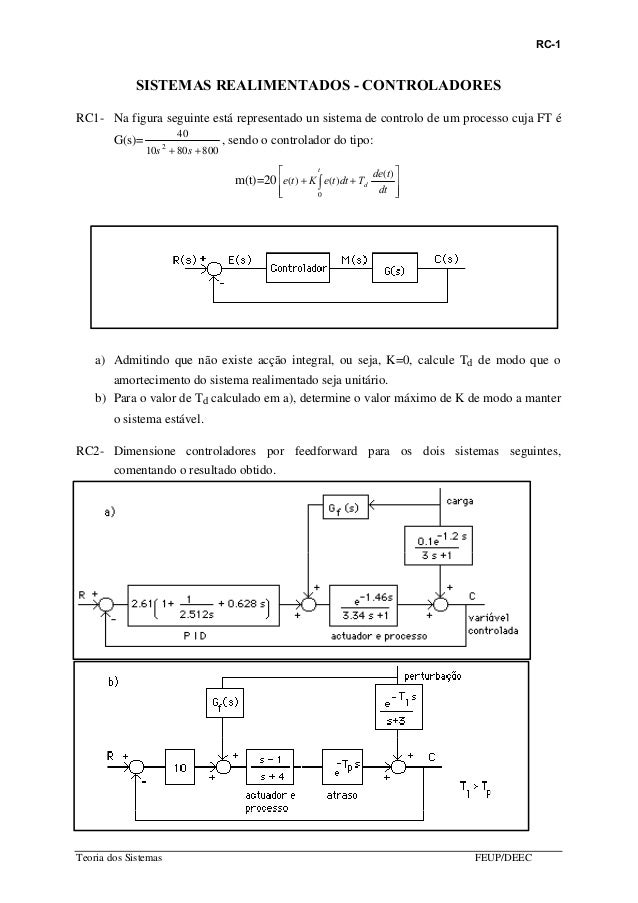 RC-1 Teoria dos Sistemas FEUP/DEEC SISTEMAS REALIMENTADOS - CONTROLADORES RC1- Na figura seguinte está representado un sis...
