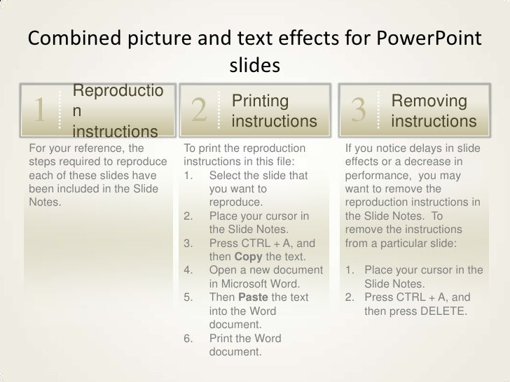 Combined picture and text effects for PowerPoint slides<br />Reproduction instructions<br />1<br />Printing instructions<b...