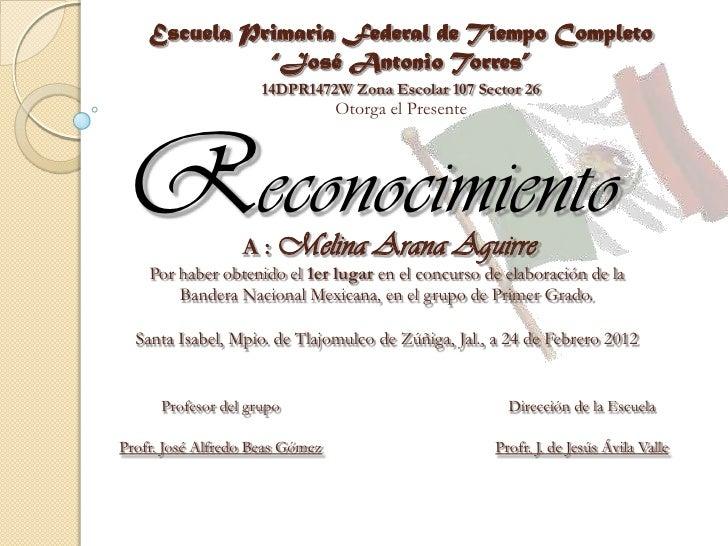 """Escuela Primaria Federal de Tiempo Completo              """"José Antonio Torres""""                     14DPR1472W Zona Escolar..."""