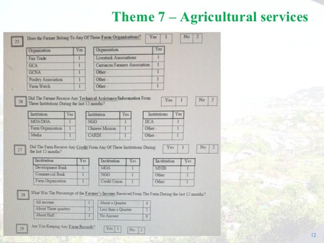 12 Theme 7 – Agricultural services