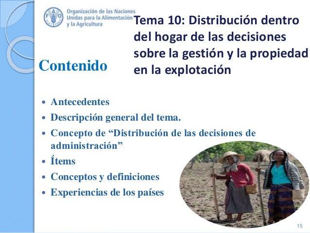 """Contenido  Antecedentes  Descripción general del tema.  Concepto de """"Distribución de las decisiones de administración"""" ..."""