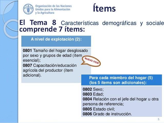 Ítems El Tema 8 Características demográficas y sociale comprende 7 ítems: 5 A nivel de explotación (2): 0801 Tamaño del ho...