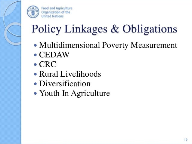 Policy Linkages & Obligations 19  Multidimensional Poverty Measurement  CEDAW  CRC  Rural Livelihoods  Diversificatio...