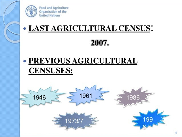  LAST AGRICULTURAL CENSUS: 2007.  PREVIOUS AGRICULTURAL CENSUSES: 4 1946 1961 1973/7 4 1986 199 6