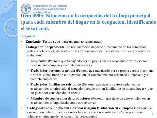 Ítem 0905: Situacion en la ocupación del trabajo principal (para cada miembro del hogar en la ocupacion, identificando el ...