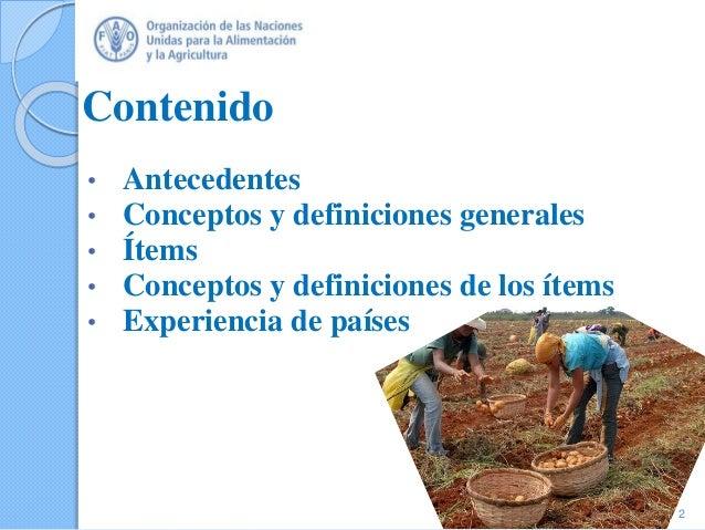 Contenido • Antecedentes • Conceptos y definiciones generales • Ítems • Conceptos y definiciones de los ítems • Experienci...