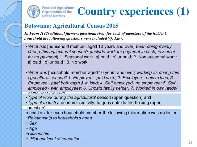 Census Theme 9 – Work on the holding