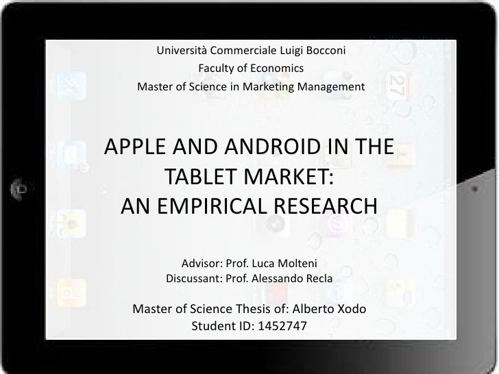 Università Commerciale Luigi Bocconi              Faculty of Economics  Master of Science in Marketing ManagementAPPLE AND...