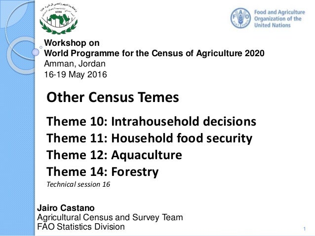 Workshop on World Programme for the Census of Agriculture 2020 Amman, Jordan 16-19 May 2016 Jairo Castano Agricultural Cen...