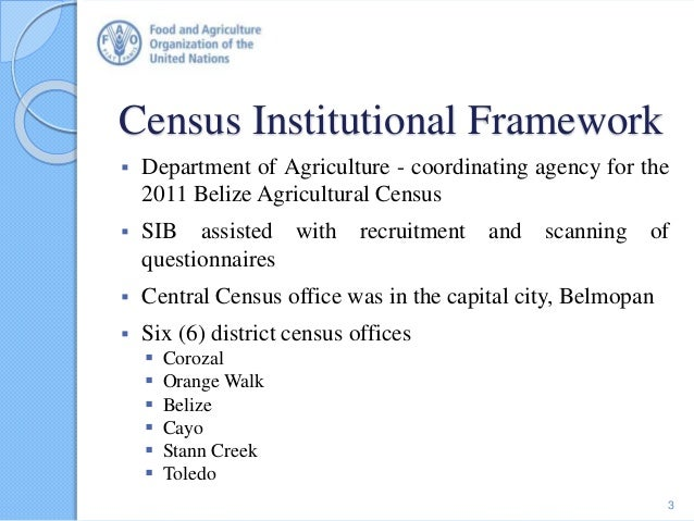 Census Institutional Framework  Department of Agriculture - coordinating agency for the 2011 Belize Agricultural Census ...