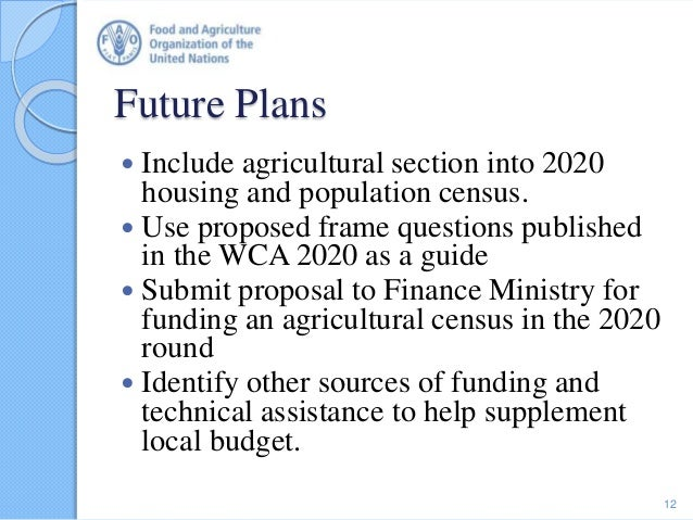 Future Plans  Include agricultural section into 2020 housing and population census.  Use proposed frame questions publis...