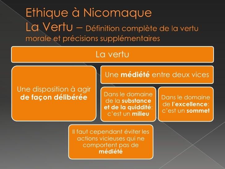 Ethique à NicomaqueLa Vertu – Définition complète de la vertu morale et précisions supplémentaires<br />
