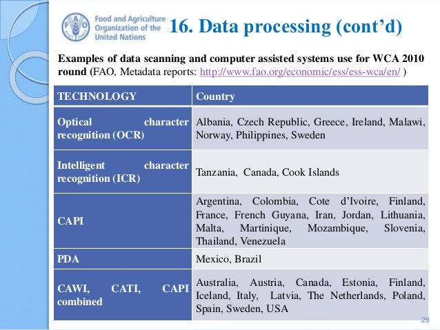 16. Data processing (cont'd) TECHNOLOGY Country Optical character recognition (OCR) Albania, Czech Republic, Greece, Irela...