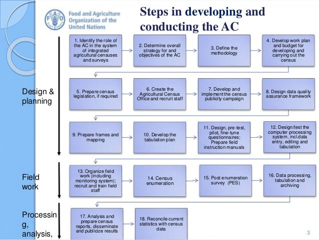 Main steps in developing and implementing the census of