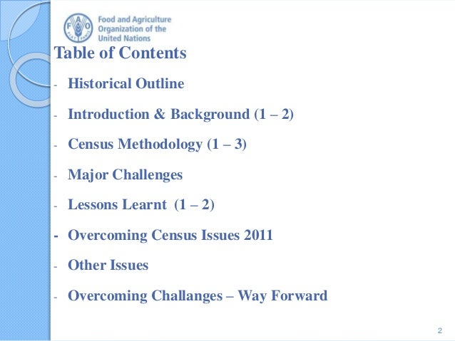 Table of Contents - Historical Outline - Introduction & Background (1 – 2) - Census Methodology (1 – 3) - Major Challenges...