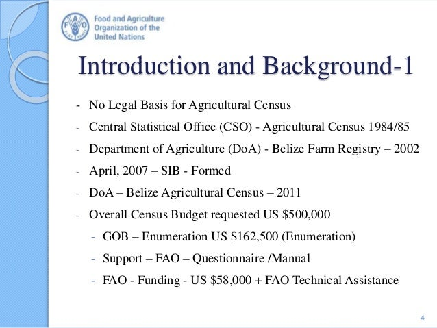 Introduction and Background-1 - No Legal Basis for Agricultural Census - Central Statistical Office (CSO) - Agricultural C...