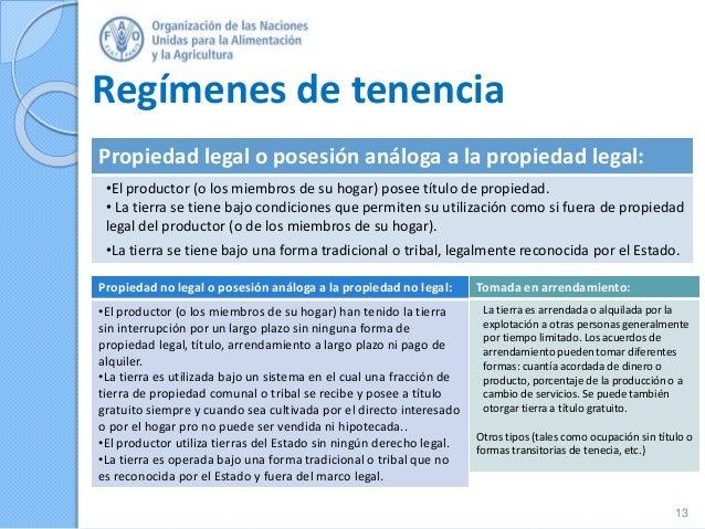 Regímenes de tenencia 13 Tomada en arrendamiento: La tierra es arrendada o alquilada por la explotación a otras personas g...